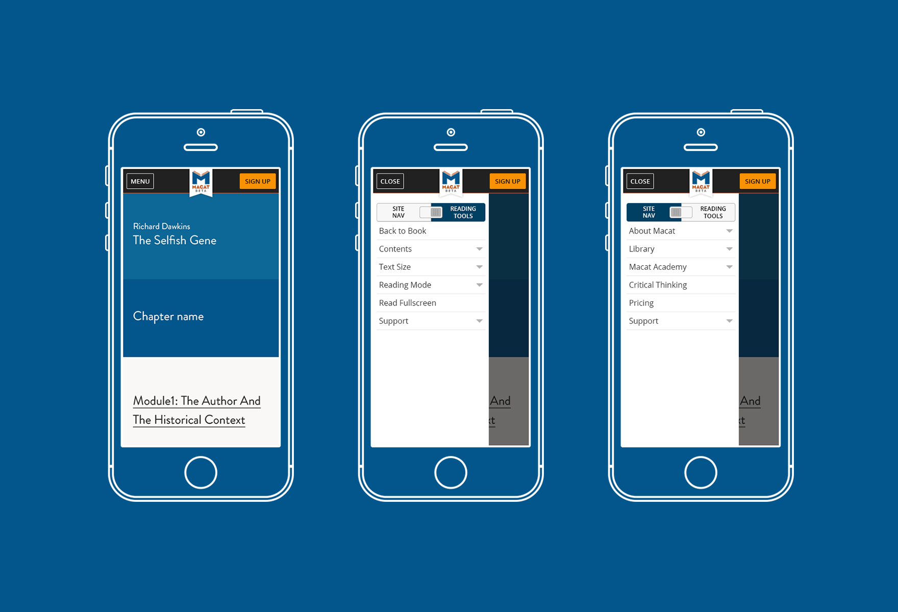 Designing the navigation for mobile and tablet was a tricky task as the user not only could navigate and edit settings for their reading experience but also navigate the site.